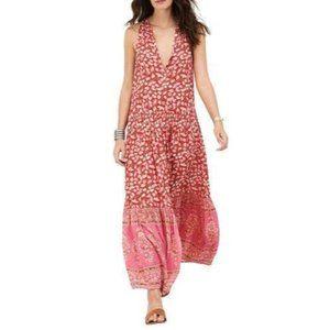 R. Vivimos Sleeveless Pink Floral Maxi Dress Sz M